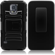Insten High Impact (Hybrid Hard Armor) Dual Layer Case Stand with Holster For Samsung Galaxy S5 / SV , Black / Black