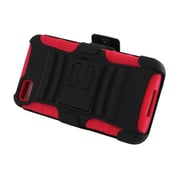 Insten Advanced Armor Dual Layer Hybrid Stand PC/Silicone Holster Case Cover for BlackBerry Z10 - Black/Red