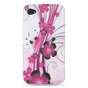 Insten TPU Design Rubber Skin Gel Back Shell Case Cover For Apple iPhone 4 / 4S - Plum Hawaii Flower