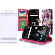 Insten Roses Book-Style Leather Fabric Cover Case w/stand/card slot/Photo Display/Diamond For LG LV3 - Purple