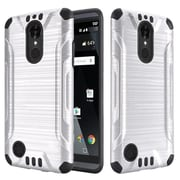 Insten Slim Armor Brushed Metal Design Hybrid Hard PC/Silicone Case For LG Aristo / LV3 - Silver/Black