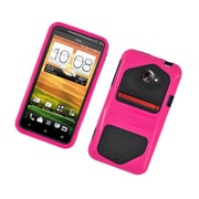Insten Dual Layer Hybrid Hard Snap-in Case Cover for HTC EVO 4G LTE - Hot Pink/Black