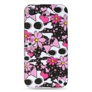 Insten TPU Design Rubber Skin Gel Back Shell Case Cover For Apple iPhone 4 / 4S - Pink Skull