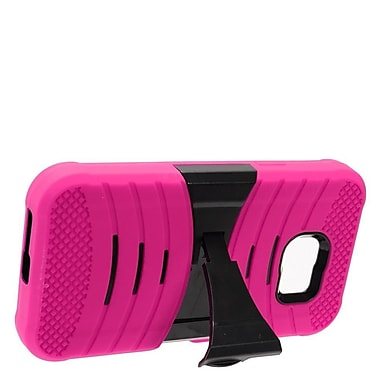 Insten Wave Symbiosis Armor Hybrid Hard Stand Protective Case Back Cover For Samsung Galaxy S7 Active - Hot Pink/Black