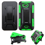 Insten Hard Dual Layer Plastic Silicone Cover Case w/Holster For Kyocera Hydro Wave - Black/Green