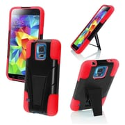 Insten Black+Red Hybrid Rugged Shockproof STAND COVER SOFT HARD CASE For Samsung Galaxy S5 S V