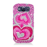 Insten Hearts Hard Diamante Case For Samsung Galaxy S3 - Pink
