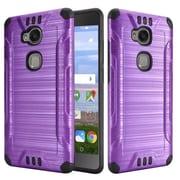 Insten Slim Armor Brushed Metal Design Hybrid Hard PC/Silicone Case For Huawei Sensa LTE - Purple/Black