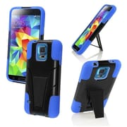 Insten Black+Blue Hybrid Rugged Shockproof STAND COVER SOFT HARD CASE For Samsung Galaxy S5 S V