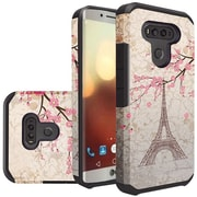 Insten White Eiffel Tower Flowers Slim Dual Layer Hybrid Hard Silicone Cover Protective Case For LG G6