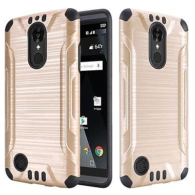 Insten Slim Armor Brushed Metal Design Hybrid Hard PC/Silicone Case For LG Aristo / LV3 - Gold/Black