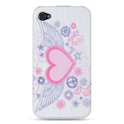 Insten TPU Design Rubber Skin Gel Back Shell Case Cover For Apple iPhone 4 / 4S - Pink Flying Heart