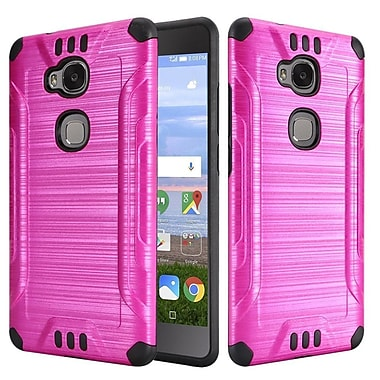 Insten Slim Armor Brushed Metal Design Hybrid Hard PC/Silicone Case For Huawei Sensa LTE - Hot Pink/Black