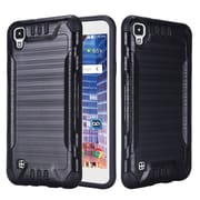 Insten Slim Armor Brushed Metal Design Hybrid Hard PC/TPU Dual Layer Case For LG Tribute HD / X STYLE - Black