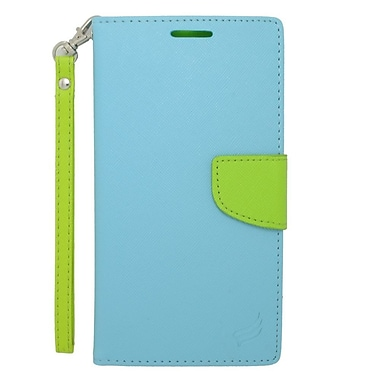 Insten Flip Wallet Leather Stand Case with Lanyard & Card slot For Motorola Google Nexus 6 - Light Blue/Green