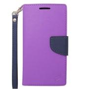 Insten Wallet Leather Stand Case with Lanyard & Card slot For Motorola Moto G (2nd Gen) - Purple/Blue