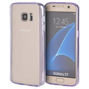 Insten Clear Acrylic Back Fusion TPU Candy Skin Rubber Gel Case For Samsung Galaxy S7 - Clear/Purple