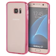 Insten Clear Acrylic Back Fusion TPU Candy Skin Rubber Gel Case For Samsung Galaxy S7 - Clear/Hot Pink