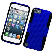 Insten TPU Rubber Hard PC Candy Skin Mesh Case Cover For Apple iPod Touch 5th Gen - Blue/Black