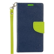 Insten Stand Flip PU Leather Wallet Flap Pouch Case Cover for Alcatel One Touch Allura / Fierce 4 / Pop 4+ - Blue/Green