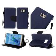 Insten Flip Leather Fabric Case Lanyard w/stand For Samsung Galaxy S7 - Blue/Black