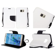 Insten Flip Leather Fabric Cover Case Lanyard w/stand For Samsung Galaxy S7 - White/Black