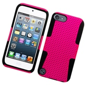 Insten TPU Rubber Hard PC Candy Skin Mesh Case Cover For Apple iPod Touch 5th Gen - Hot Pink/Black