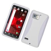 Insten Dual Layer Hybrid TPU Rubber Candy Skin Case Cover for Motorola Droid Bionic - White