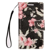 Insten Stand Folio Flip Leather Wallet Pouch Case Cover for Alcatel Dawn / Ideal / Streak - Black Flowers/Pink