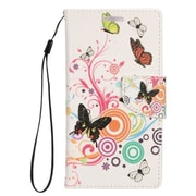 Insten Stand Folio Flip Leather Wallet Pouch Case Cover for Alcatel Dawn / Ideal / Streak - White Butterfly/Pink