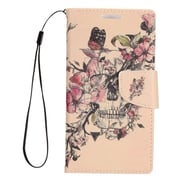 Insten Stand Folio Flip Leather Wallet Pouch Case Cover for Alcatel Dawn / Ideal / Streak - Beige Flowers/Pink