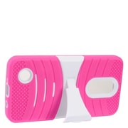 Insten Wave Symbiosis Dual Layer Hybrid Stand Amor Shockproof Case Cover For LG Aristo - Hot Pink/White