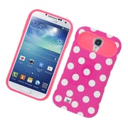 Insten Two-Tone/NightGlow Polka Dots Jelly Hybrid Hard Silicone Case Cover For Samsung Galaxy S4 - Hot Pink
