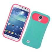 Insten Two-Tone/NightGlow Jelly Hybrid Hard Silicone Case Cover For Samsung Galaxy S4 - Green/Hot Pink