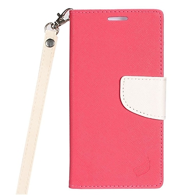 Insten Flip Wallet Leather Case with Card Slot & Lanyard For LG Optimus Zone 3 / Spree - Pink/White