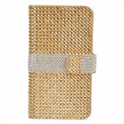 Insten Folio Wallet Leather Rhinestone Case with Card slot For LG V10 - Gold/Silver
