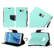 Insten Folio Leather Fabric Cover Case Lanyard w/stand For Samsung Galaxy S7 - Teal/Black