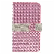 Insten Folio Wallet Leather Rhinestone Case with Card slot For LG V10 - Hot Pink/Silver