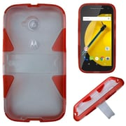 Insten Hard Hybrid Silicone Cover Case w/stand For Motorola Moto E (2nd Gen 2015) - Clear/Red