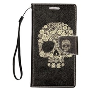 Insten Stand Folio Flip Leather Wallet Pouch Case Cover for Alcatel Dawn / Ideal / Streak - Black Skull