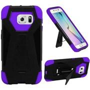 Insten Hybrid Dual Layer Hard Silicone T Kickstand Shockproof Case For Samsung Galaxy S6 - Black/Purple