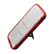 Insten Dual Layer Hybrid Stand TPU Rubber Candy Skin Case Cover for Samsung Galaxy S4 i9500 - Red/Black