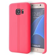 Insten Leather Look Finish Slim Jacket TPU Skin Rubber Gel Case For Samsung Galaxy S7 - Hot Pink