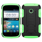 Insten For ZTE Prelude2 Z667 Car Armor Hybrid Rugged Hard Shockproof Soft Dual Layer Case Electric Green