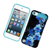 Insten Two-Tone/NightGlow Flowers Jelly Hybrid Hard Silicone Case Cover For Apple iPod Touch 5th Gen - Black/Blue