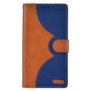 Insten Denim Flip Leather Wallet Pouch Stand Case Cover for Apple iPhone 7 Plus - Brown/Dark blue