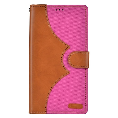 Insten Denim Flip Leather Wallet Pouch Stand Case Cover for Apple iPhone 7 Plus - Brown/Hot Pink