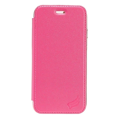 Insten PU1 Electroplating TPU Wallet Leather Pouch Case Cover for Apple iPhone 7 - Hot Pink/Silver