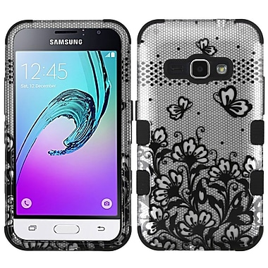 Insten TUFF Hybrid Case (Military-Grade Certified) For Samsung Galaxy Amp 2 / Express 3 / J1 (2016) - Lace Flowers/Black