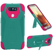 Insten Hybrid Dual Layer Hard TPU Kickstand Cover Back Shockproof Case For LG G6 - Teal/Hot Pink